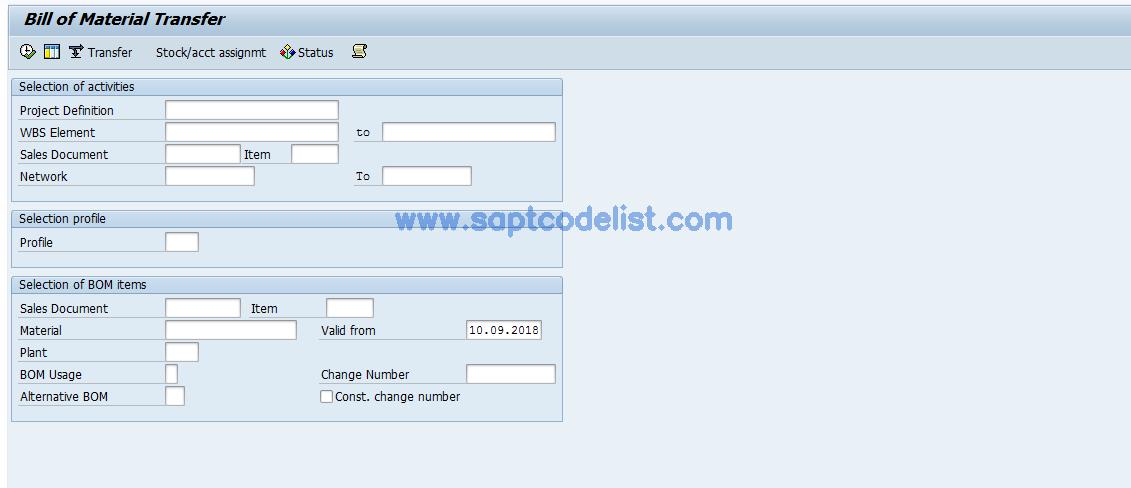 CN33 SAP Tcode : PDM-PS interface Transaction Code