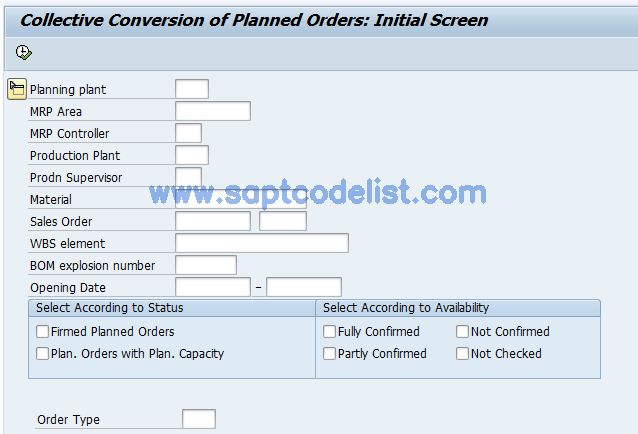 CO41 SAP Tcode : Collective Conversion of Planned Orders