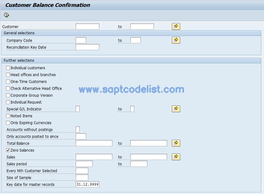 F17P SAP Tcode : Bal  Confirmation (Customer) as PDF