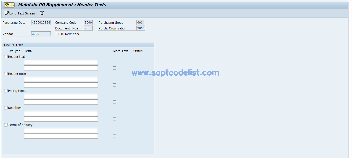 ME24 SAP Tcode : Maintain Purchase Order Supplement