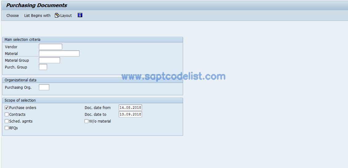 ME80F SAP Tcode : Purchasing Reporting: POs Transaction Code