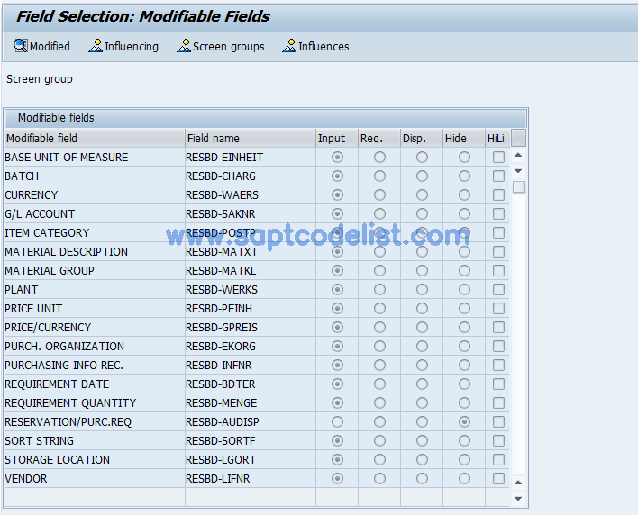 OIAO SAP Tcode : Field Selection Reference Object PM