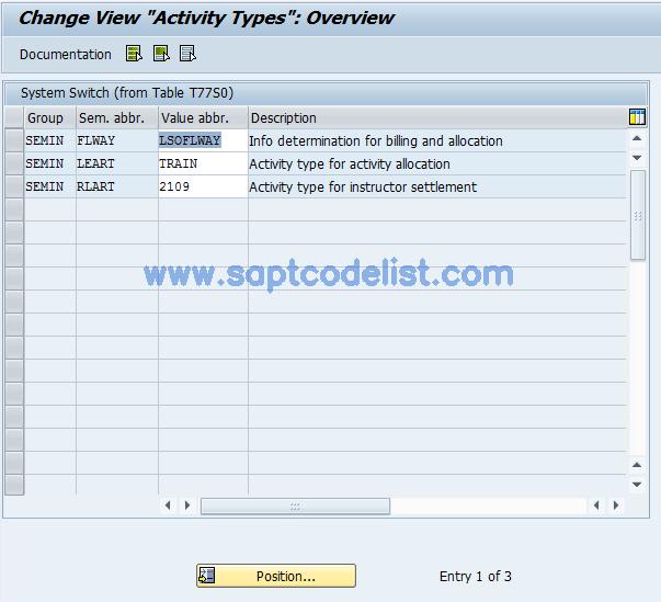 OOCA SAP Tcode : Activity Types Transaction Code