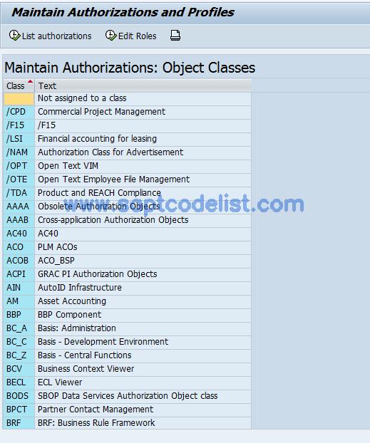 OY20 SAP Tcode : Authorizations Customizing Transaction Code